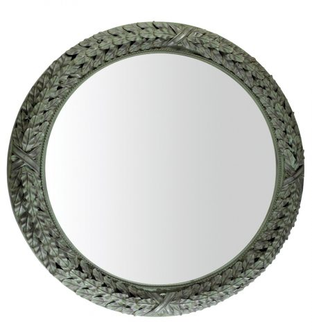 Bayleaf mirror - circular - antique green