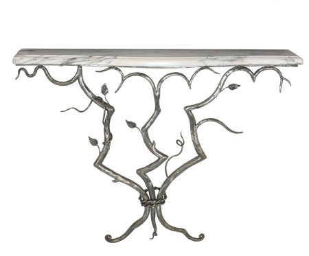 Branch hand forged console table - Antique steel