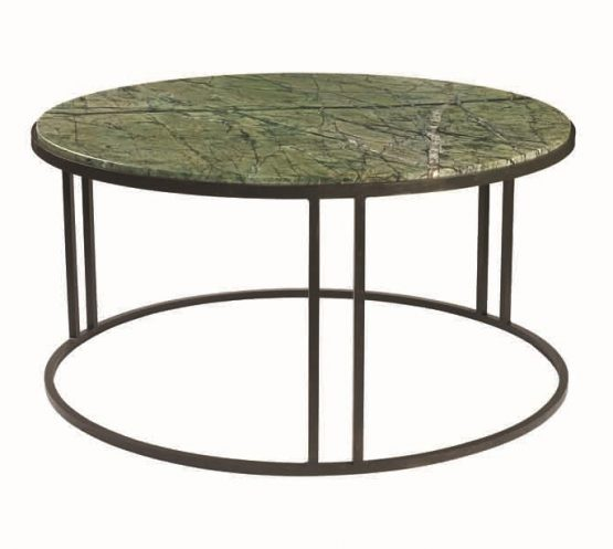 Chan Marble Top Round Coffee Table 80cm Brown Brass: Double Leg Outline Side Table