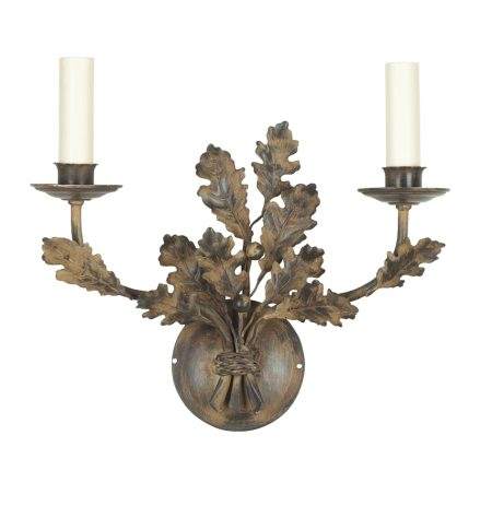 Oak branch wall light - 2 arm - short - antique