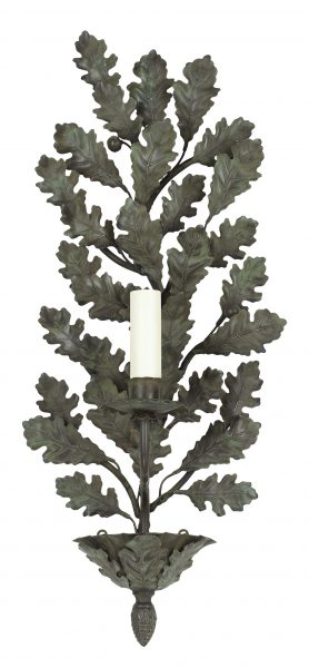 Oak branch wall light - single arm - antiqur green