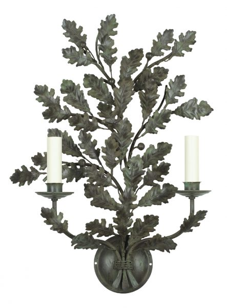 Oak branch wall light - tall - 2 arm - Antique green