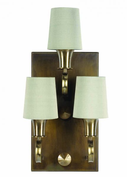 munich wall light - 3 arm - antique brass