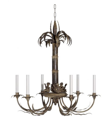 Palm tree and monkey chandelier - Antique